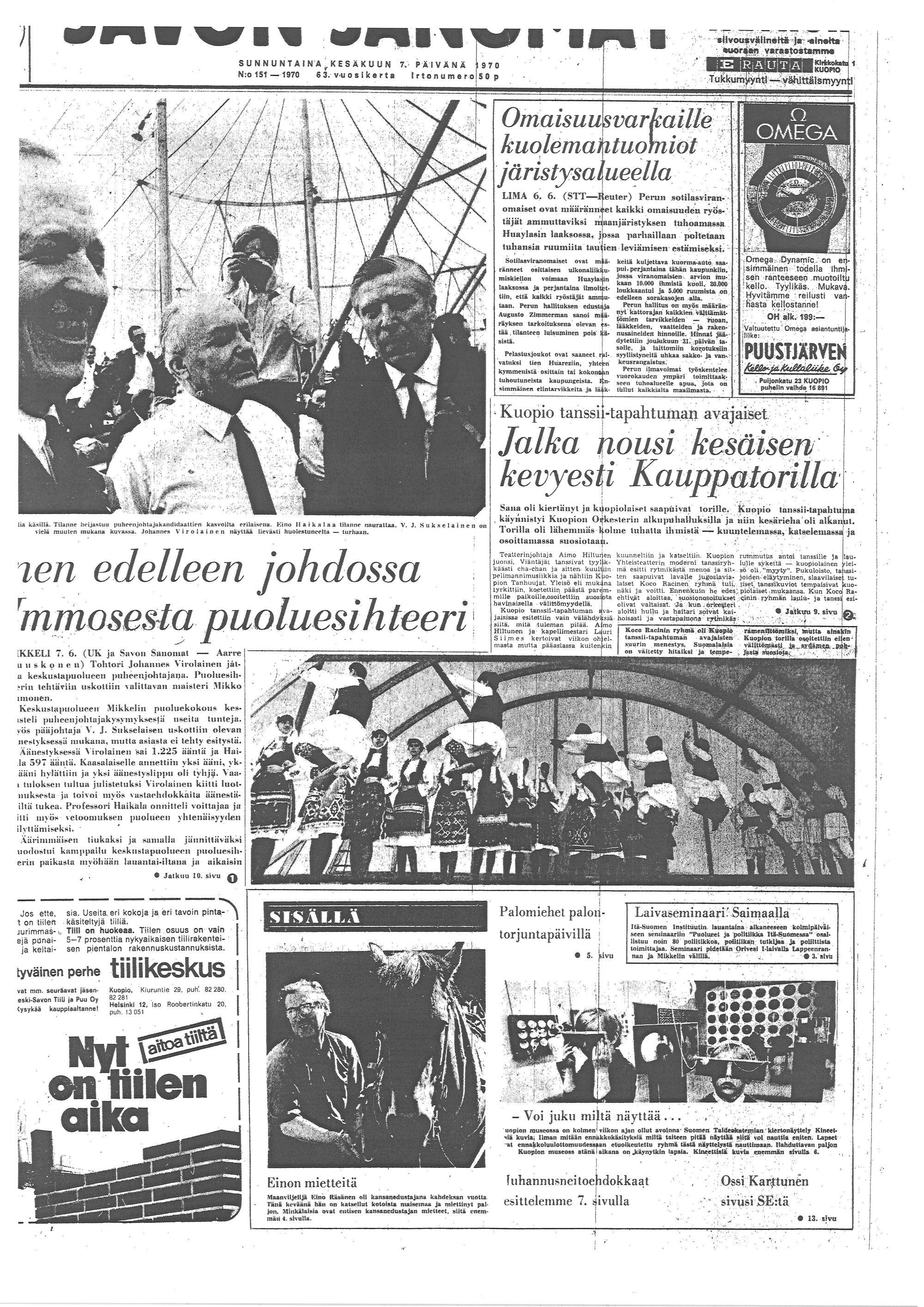 Savon Sanomien lehtileike festivaalin avajaiset vuonna 1970