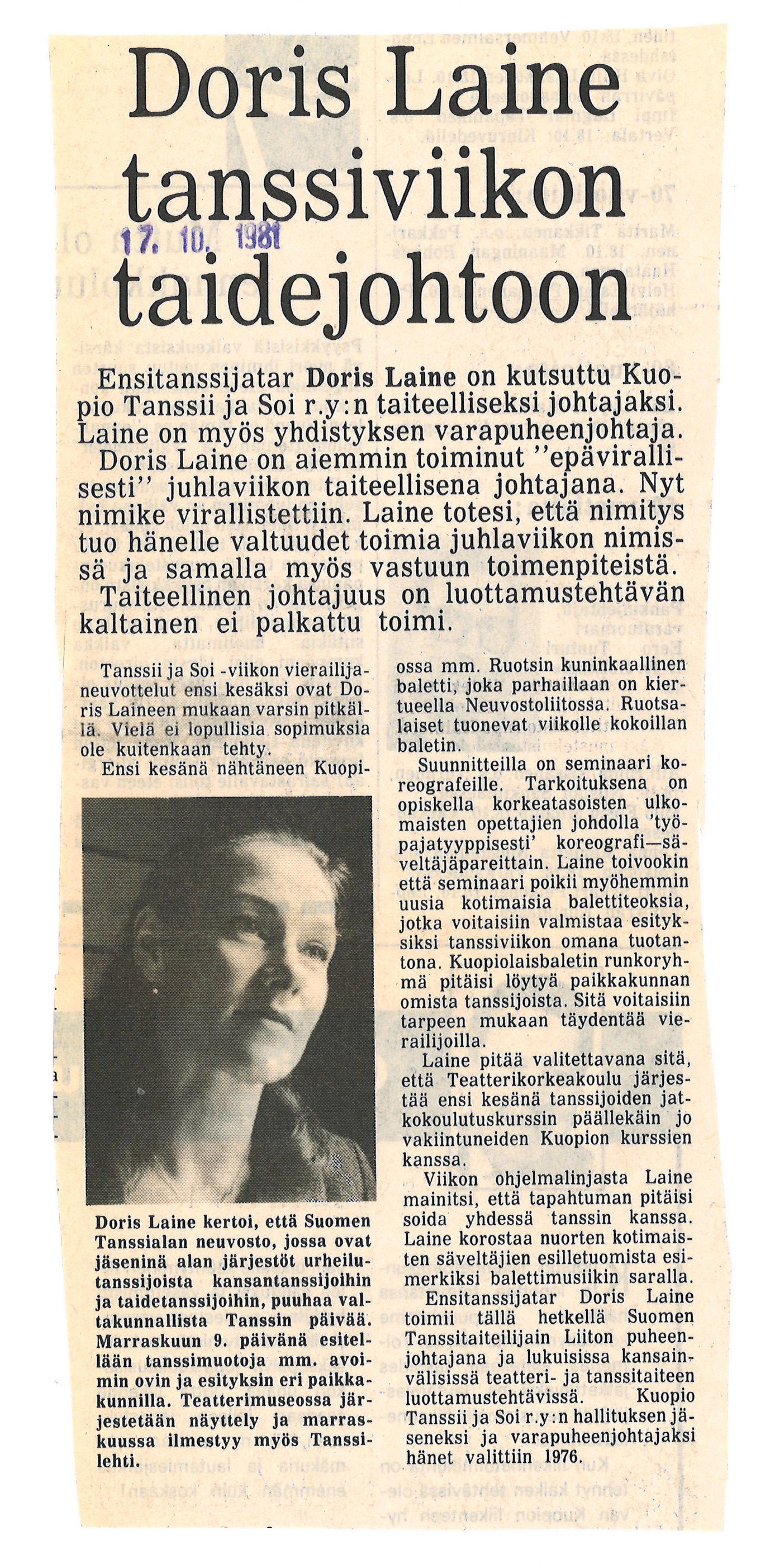 Savon Sanomien lehtileike vuodelta 1981 Doris Laine