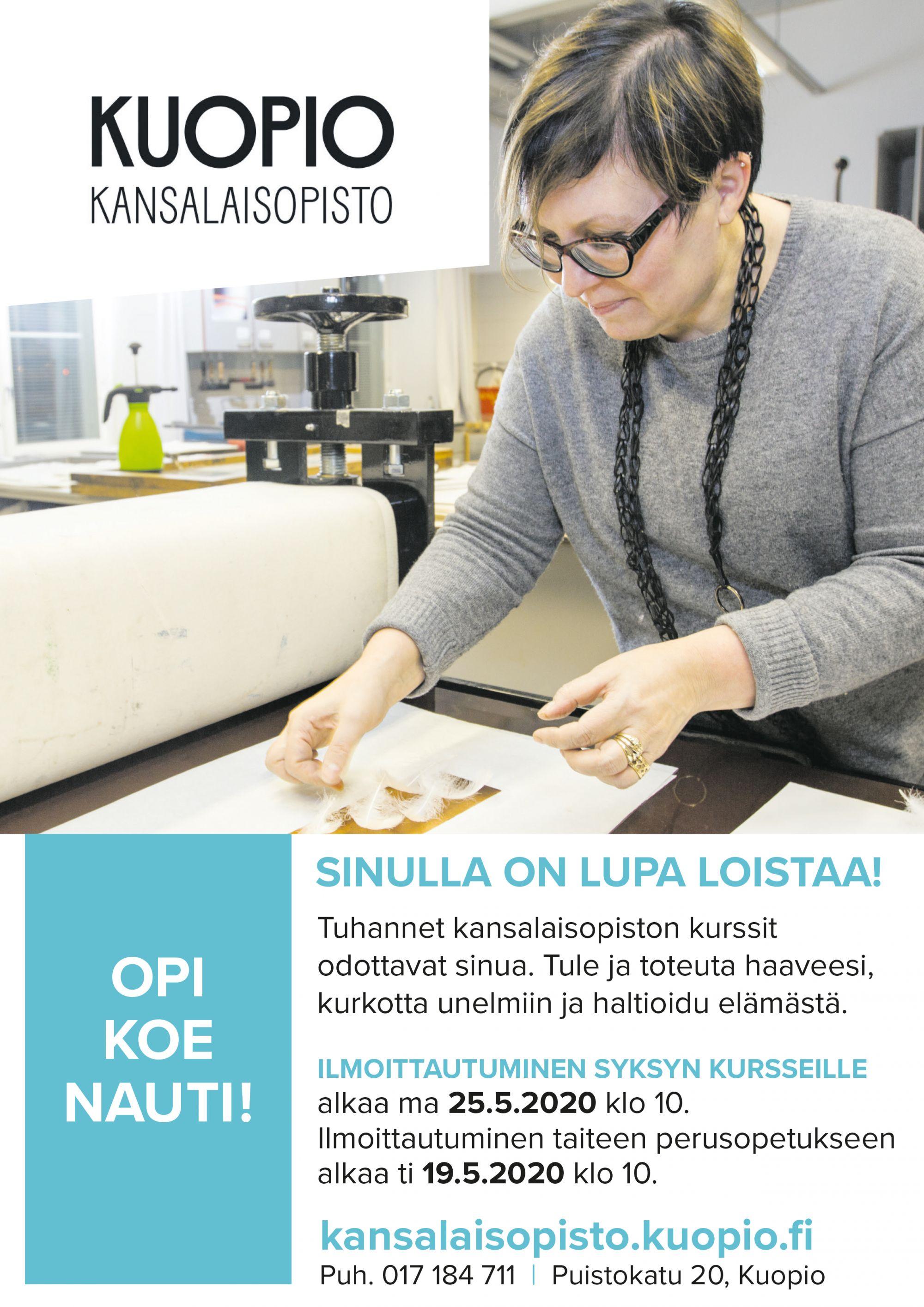 Kuopion kansalaisopisto kuvailmoitus